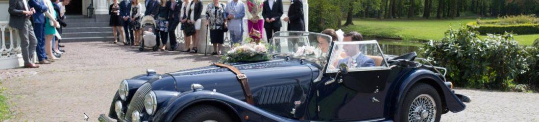Trouwauto Morgan 4/4 Cabriolet Blauw